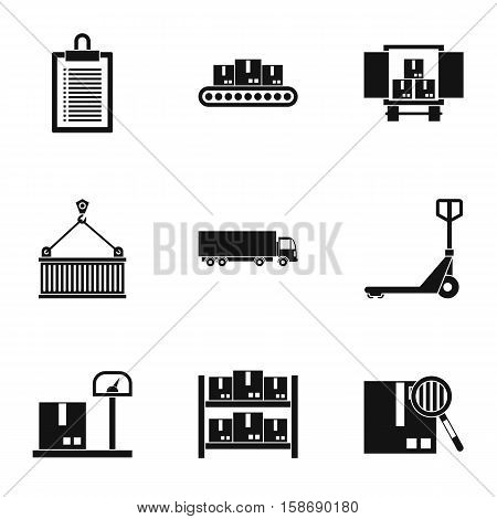 Cargo packing icons set. Simple illustration of 9 cargo packing vector icons for web