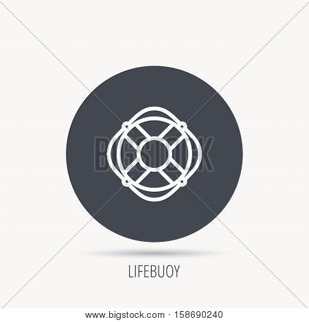 Lifebuoy with rope icon. Lifebelt sos sign. Lifesaver help equipment symbol. Round web button with flat icon. Vector