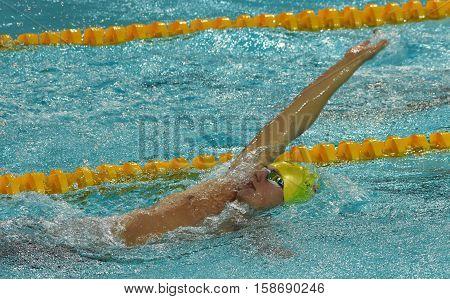 Hong Kong China - Oct 29 2016. Austrian swimmer Sebastian STEFFAN (AUT) swiming backstroke. FINA Swimming World Cup Preliminary Heats Victoria Park Swimming Pool.