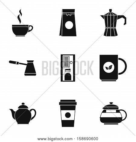 Types of drinks icons set. Simple illustration of 9 types of drinks vector icons for web