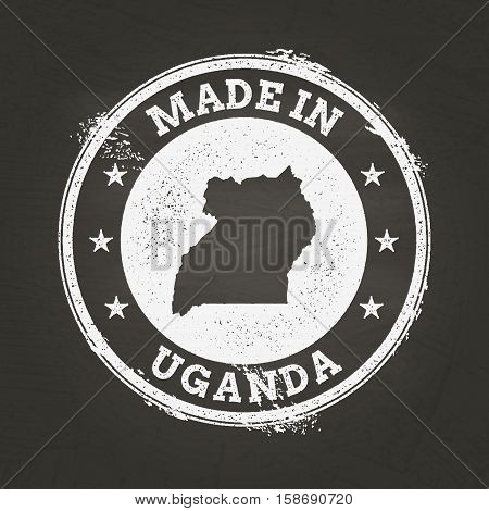 White Chalk Texture Made In Stamp With Republic Of Uganda Map On A School Blackboard. Grunge Rubber