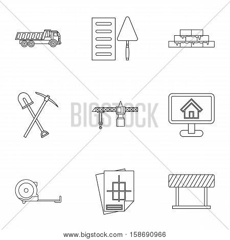 Building tools icons set. Outline illustration of 9 building tools vector icons for web