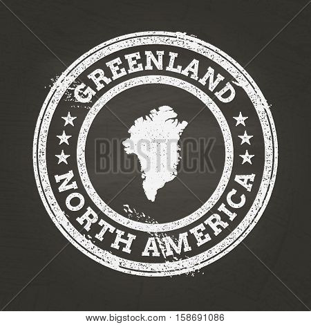 White Chalk Texture Grunge Stamp With Greenland Map On A School Blackboard. Grunge Rubber Seal With