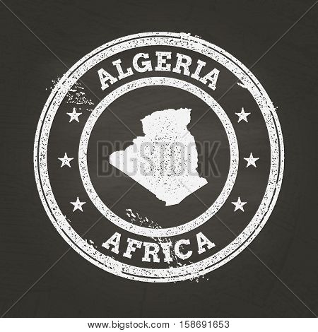 White Chalk Texture Grunge Stamp With People's Democratic Republic Of Algeria Map On A School Blackb