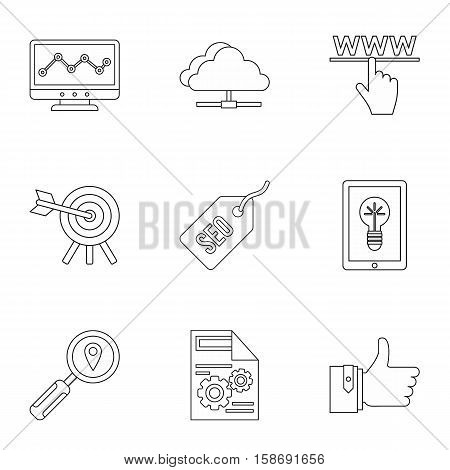 SEO icons set. Outline illustration of 9 SEO vector icons for web