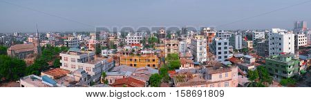 Panorama of Mandalay city Myanmar Southeast Asia. Panoramic view of downtown. Beautiful cityscape of traditional asian town.