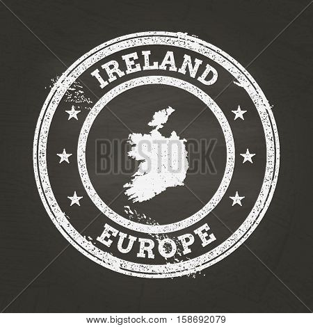 White Chalk Texture Grunge Stamp With Ireland Map On A School Blackboard. Grunge Rubber Seal With Co