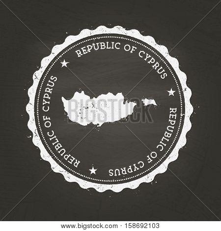 White Chalk Texture Rubber Stamp With Republic Of Cyprus Map On A School Blackboard. Grunge Rubber S