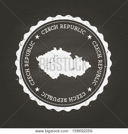 White Chalk Texture Rubber Stamp With Czech Republic Map On A School Blackboard. Grunge Rubber Seal