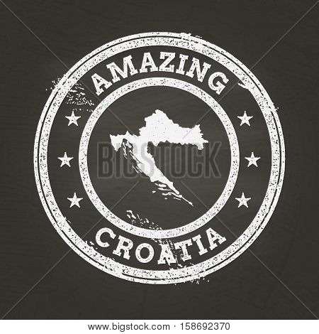 White Chalk Texture Vintage Stamp With Republic Of Croatia Map On A School Blackboard. Grunge Rubber