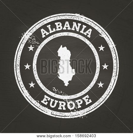 White Chalk Texture Grunge Stamp With Republic Of Albania Map On A School Blackboard. Grunge Rubber
