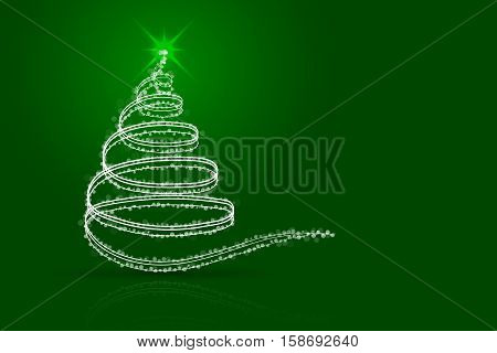 Abstract christmas tree green background. White christmas tree from lines sparkles dots and transparent circles on green gradient backdrop with shadow and reflection.