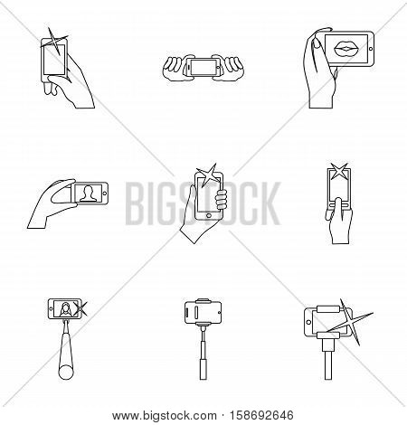 Shooting on cell phone icons set. Outline illustration of 9 shooting on cell phone vector icons for web