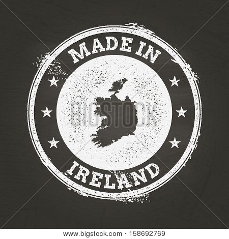 White Chalk Texture Made In Stamp With Ireland Map On A School Blackboard. Grunge Rubber Seal With C
