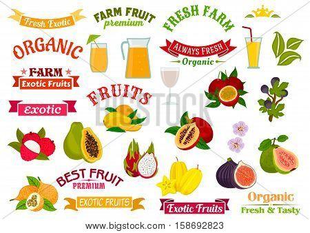 Fruit juice badges set. Organic farm and tropical exotic fruits papaya, orange, lychee, dragon fruit, fig, guava, carambola, passion fruit maracuya. Fruit juice in glass, fruit badge ribbons, symbols