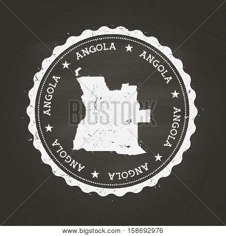 White Chalk Texture Rubber Stamp With People's Republic Of Angola Map On A School Blackboard. Grunge