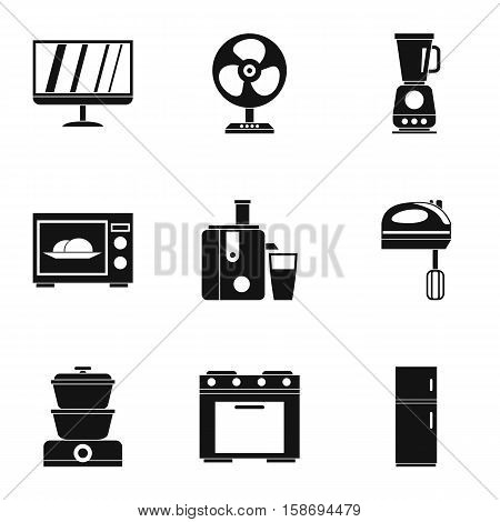 Technique icons set. Simple illustration of 9 technique vector icons for web