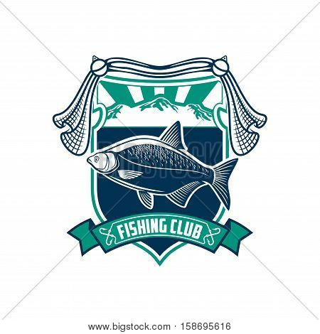 Fishing club sign. Fisherman sport vector badge icon of fish, fishing tackle, fisher net, rod, hook bait, float, ribbon, marine shield. Fishing sport adventure camp