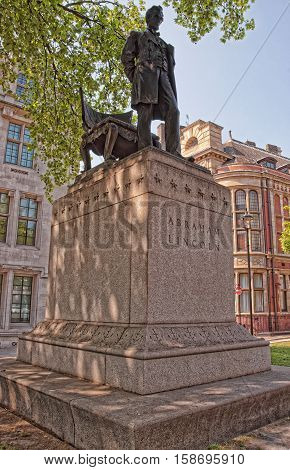 London, UK - April 30, 2011: Replica of the statue of Abraham Lincoln called the Man in Parliament Square in London in England.