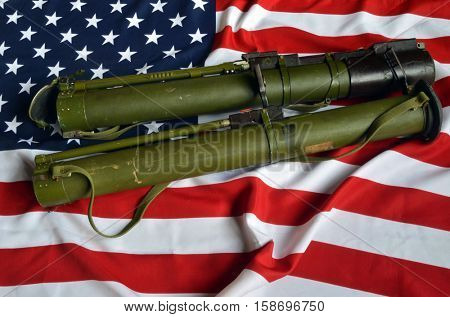 USA Flag with Soviet rocket-propelled grenade launcher