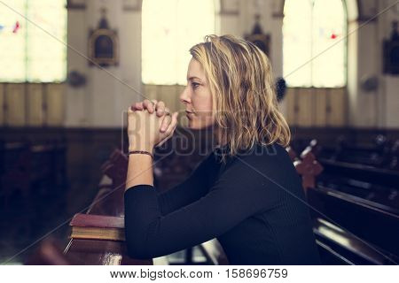 Woman Sitting Church Religion Concept