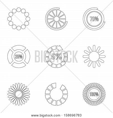 Computer download icons set. Outline illustration of 9 computer download vector icons for web
