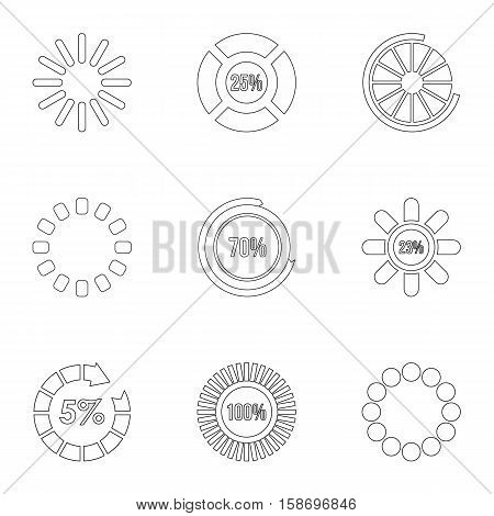 Download page icons set. Outline illustration of 9 download page vector icons for web