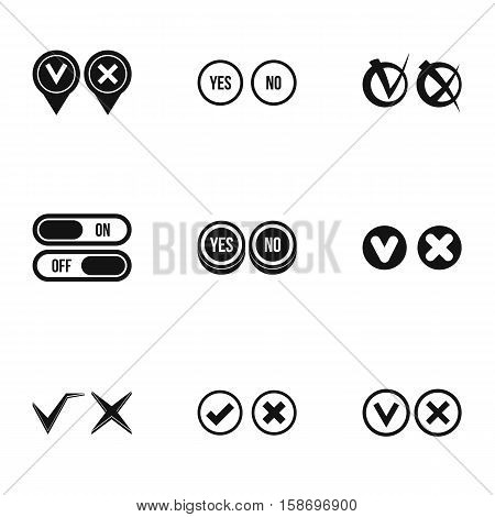 Cross and tick icons set. Simple illustration of 9 cross and tick vector icons for web