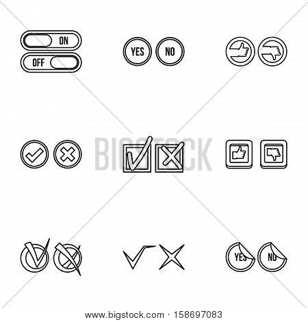 Tick icons set. Outline illustration of 9 tick vector icons for web