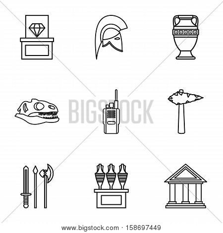 Historical museum icons set. Outline illustration of 9 historical museum vector icons for web