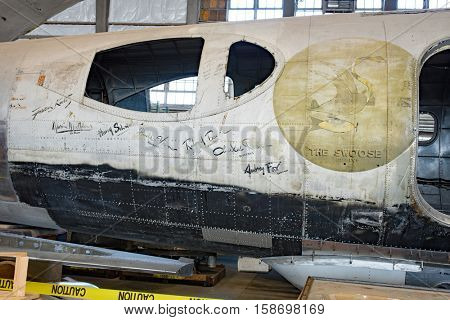 DAYTON, OHIO, USA - NOVEMBER 18, 2016: National Museum USAF is restoring WWII The Swoose Flying Fortress bomber, the oldest B-17 & only D model in existence. Shown here with crews' names on fuselage.
