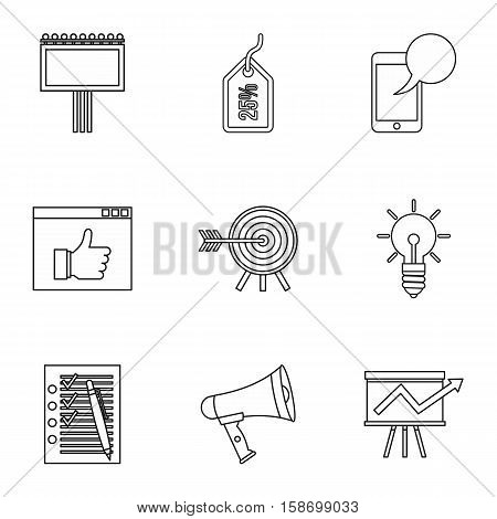 Types of advertising icons set. Outline illustration of 9 types of advertising vector icons for web