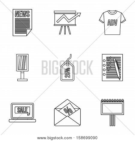 Advertising goods icons set. Outline illustration of 9 advertising goods vector icons for web