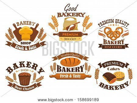 Bakery shop signs of bread, pastry, desserts. Vector isolated bakery icons of wheat bread loaf, flour sack with rolling pin, baked bagels, rye bread brick, sweet buns, pies