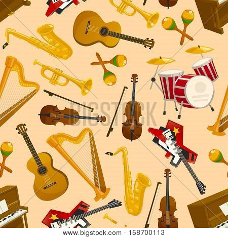 Music pattern. Vector seamless background of string and wind musical instruments electric and acoustic guitar, saxophone, harp, drum, violin bow, cymbals, trumpet, piano, maracas