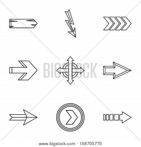 Types of arrows icons set. Outline illustration of 9 types of arrows vector icons for web