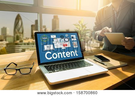 Content Marketing, Online Concept , Content Data Blogging Media Publication Content Marketing , Cont
