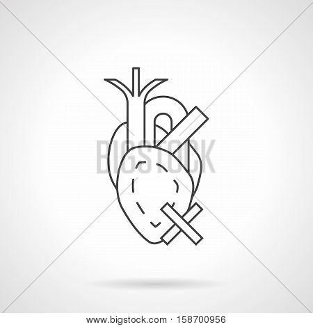 Abstract symbol of human heart with blood vessels and crossed sign. Cardiology concept. Symptoms and treatment of cardiovascular system disease. Flat line vector icon.