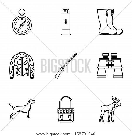 Shooting at animals icons set. Outline illustration of 9 shooting at animals vector icons for web