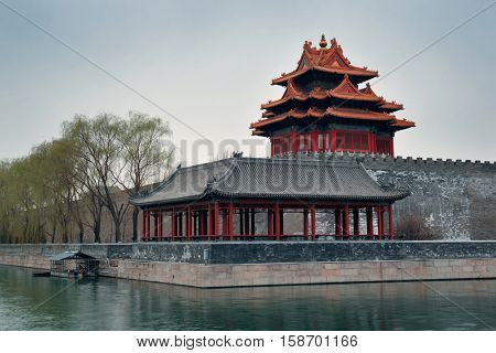 Corner Tower in Imperial Palace in Beijing, China