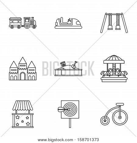 Entertainment for children icons set. Outline illustration of 9 entertainment for children vector icons for web