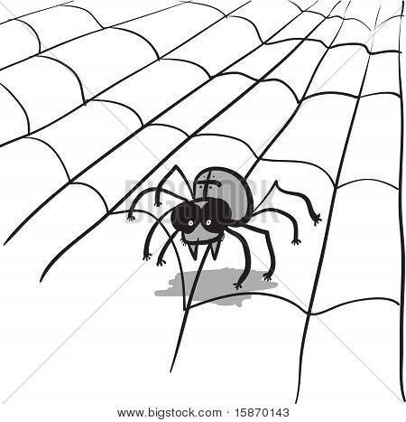 Simple Monochrome Vector Image - Spider In Web