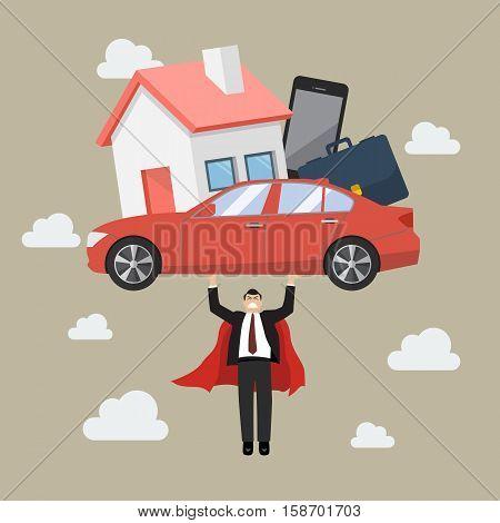Businessman superhero carrying debt burden. Business concept