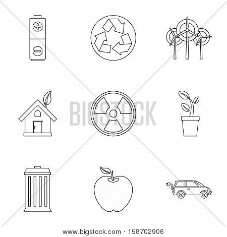 Ecology icons set. Outline illustration of 9 ecology vector icons for web