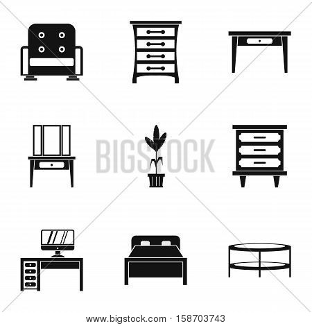 Type of furniture icons set. Simple illustration of 9 type of furniture vector icons for web