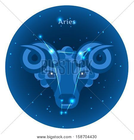 Stylized icons of zodiac signs in the night sky with zodiac bright stars constellation in front. Astrology symbol. Aries zodiac sign.