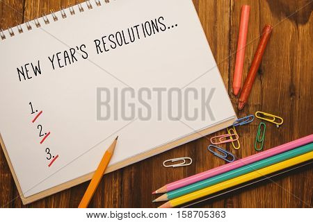 New years resolution list against composite image of white background with vignette