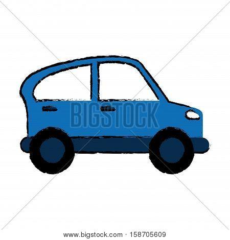 drawn blue car transport industry contamination icon vector illustration eps 10
