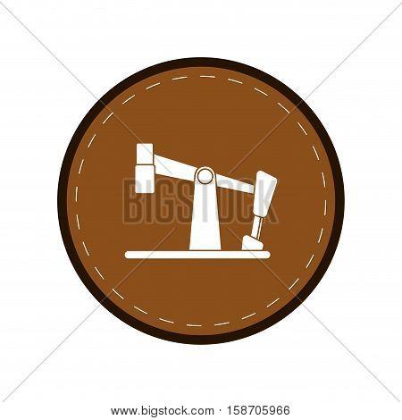 oil pump drilling petroleum industry brown circle vector illustration eps 10