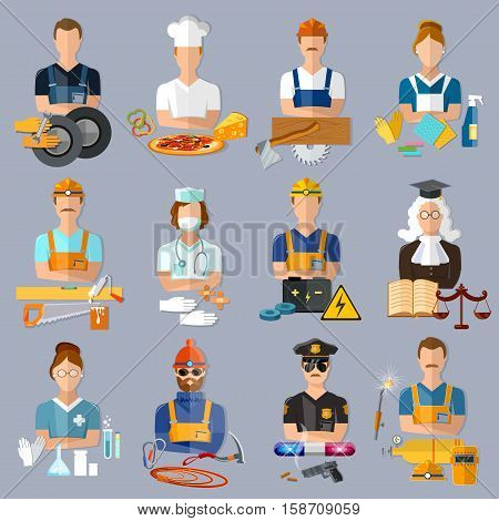 Collection professions. Auto mechanic cook carpenter laundress electrician judge doctor pharmacist climber policeman welder vector illustration. Profession people and avatars collection.